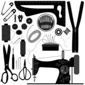 Retro negro de coser sastre — Vector de stock