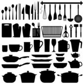 Kitchen Utensils Silhouette Vector — Stok Vektör