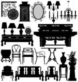 Antique Old Furniture Home House — Stock Vector