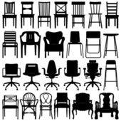 Chair Black Silhouette Set — Stock Vector