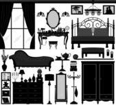 Schlafzimmer home interior design set schwarz — Stockvektor