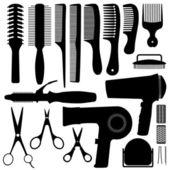 волосы аксессуары силуэт вектор — Cтоковый вектор