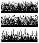 Grass Plant Flower Silhouette — Vettoriale Stock
