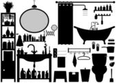 Bathroom Toilet Design Set Vector — Stok Vektör