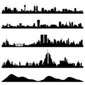 Vettore di paesaggio urbano città skyline — Vettoriale Stock