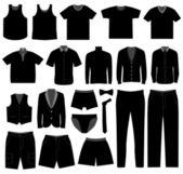 Muži muži mužské oblečení košile tkaniny opotřebení — Stock vektor