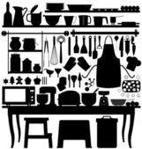 Pečení pečiva kuchyňské nástroje — Stock vektor