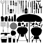 BBQ Barbecue Set Silhouette Vector — Stockvektor