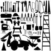 Budowlane narzędzia sylwetka wektor — Wektor stockowy
