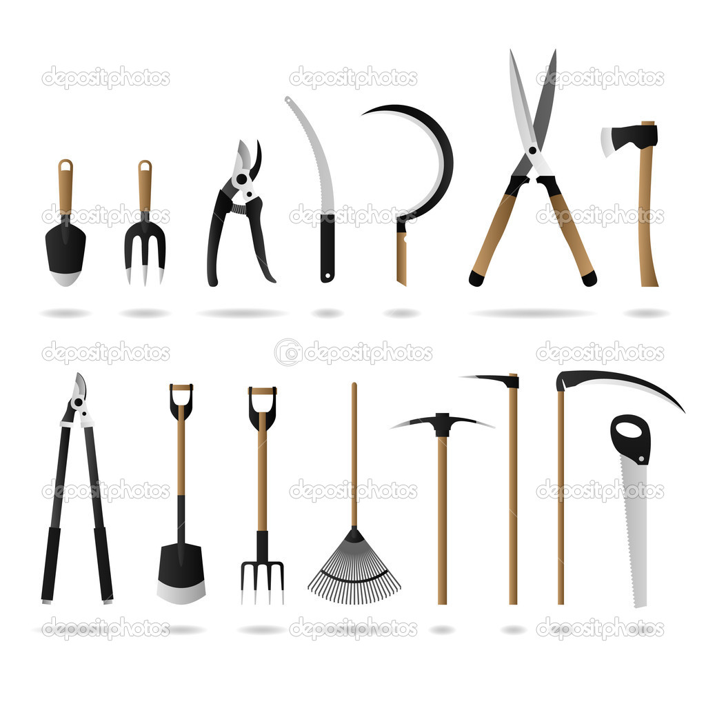 Set of gardening tools stock vector leremy 4559487 for Different tools and equipment in horticulture