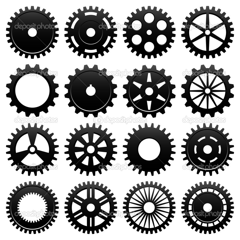 16 specially designed cogwheel for machinery usage. — Stok Vektör #4559498