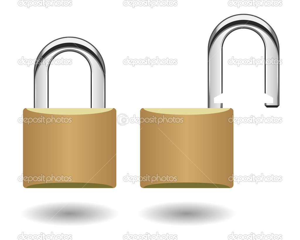 A locked and unlocked pad lock in vector.  Stock Vector #4559585
