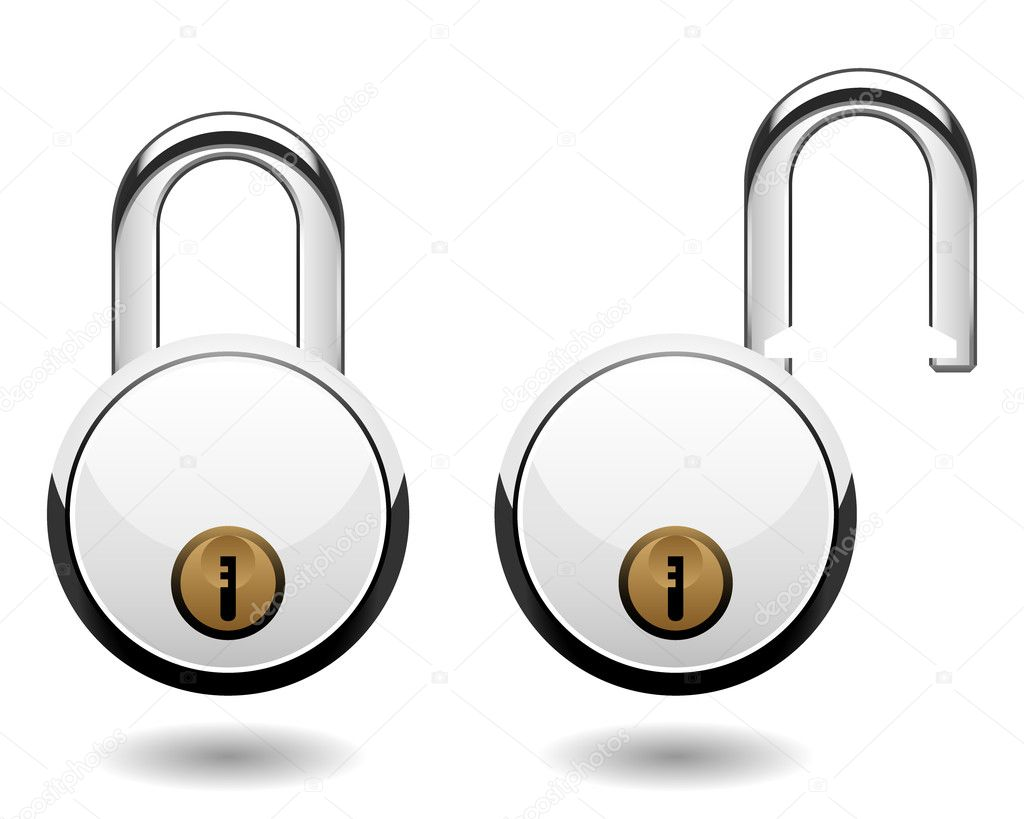 A locked and unlocked pad lock in vector. — Stock Vector #4559589