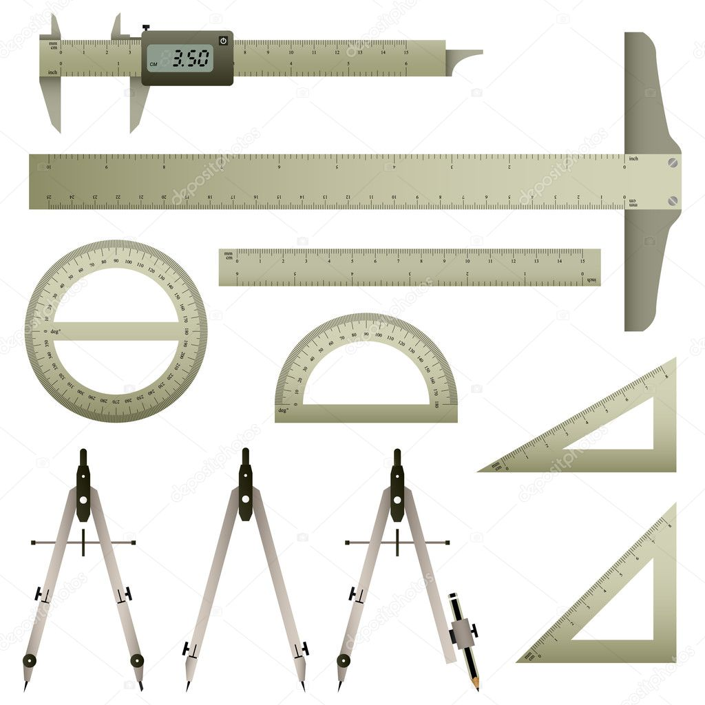 A set of mathematics measurement instrument with accurate measurement.  Stock Vector #4559596
