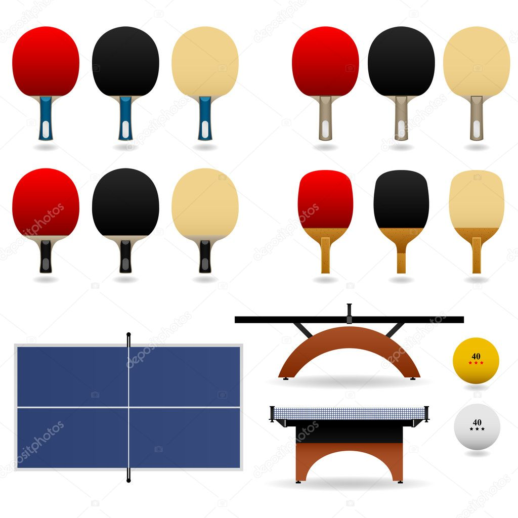 Table tennis complete set. — Stock Vector #4559636