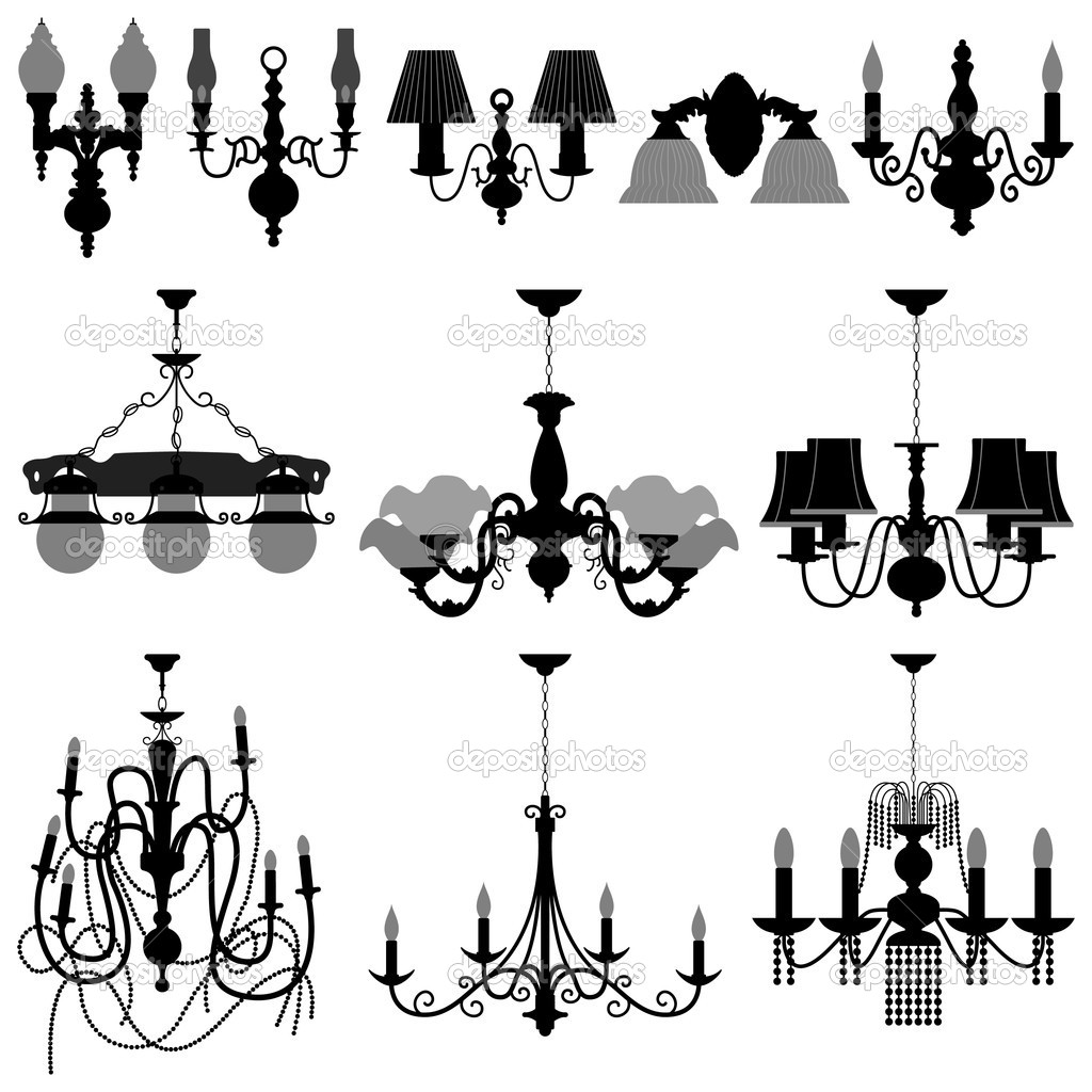 A set of chandelier and wall lamp. — Stock Vector #4559673