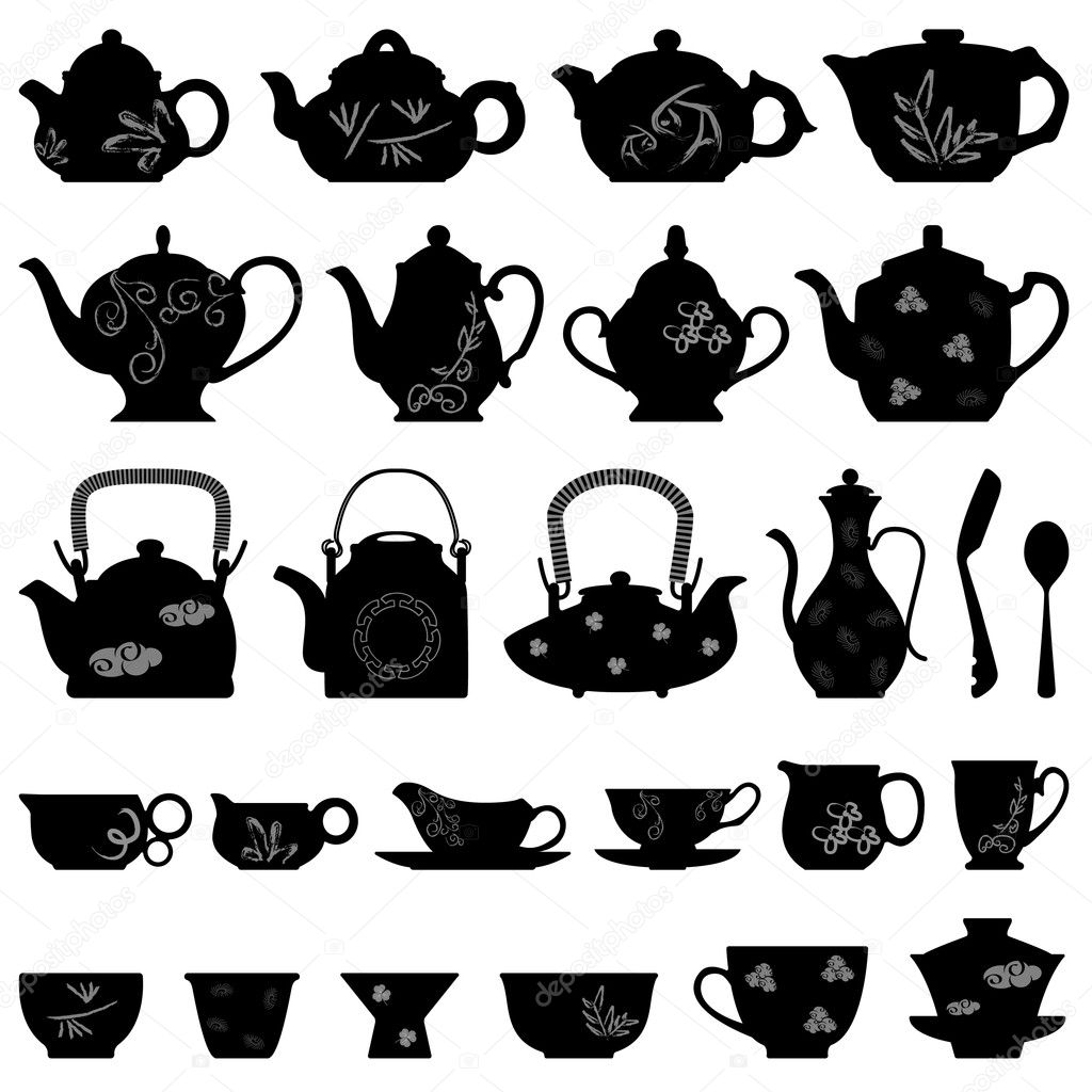 A set of teapots in vector.  Stock Vector #4559686