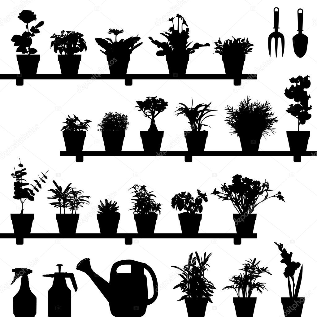A large set of flowers and plants in vase or pot. This is in silhouette version. — Stock Vector #4559714