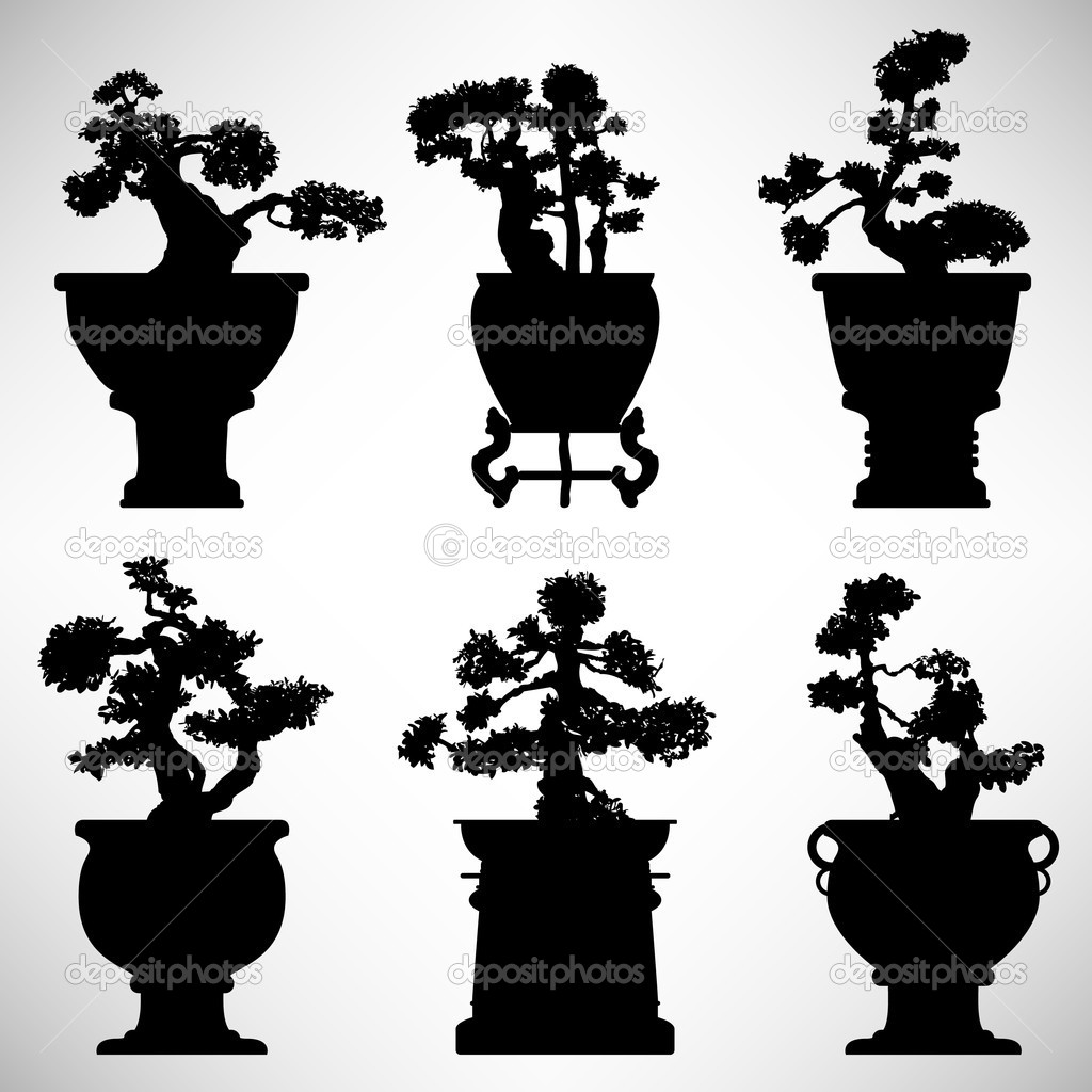 A set of bonsai tree in silhouette vector.  Stock Vector #4559719