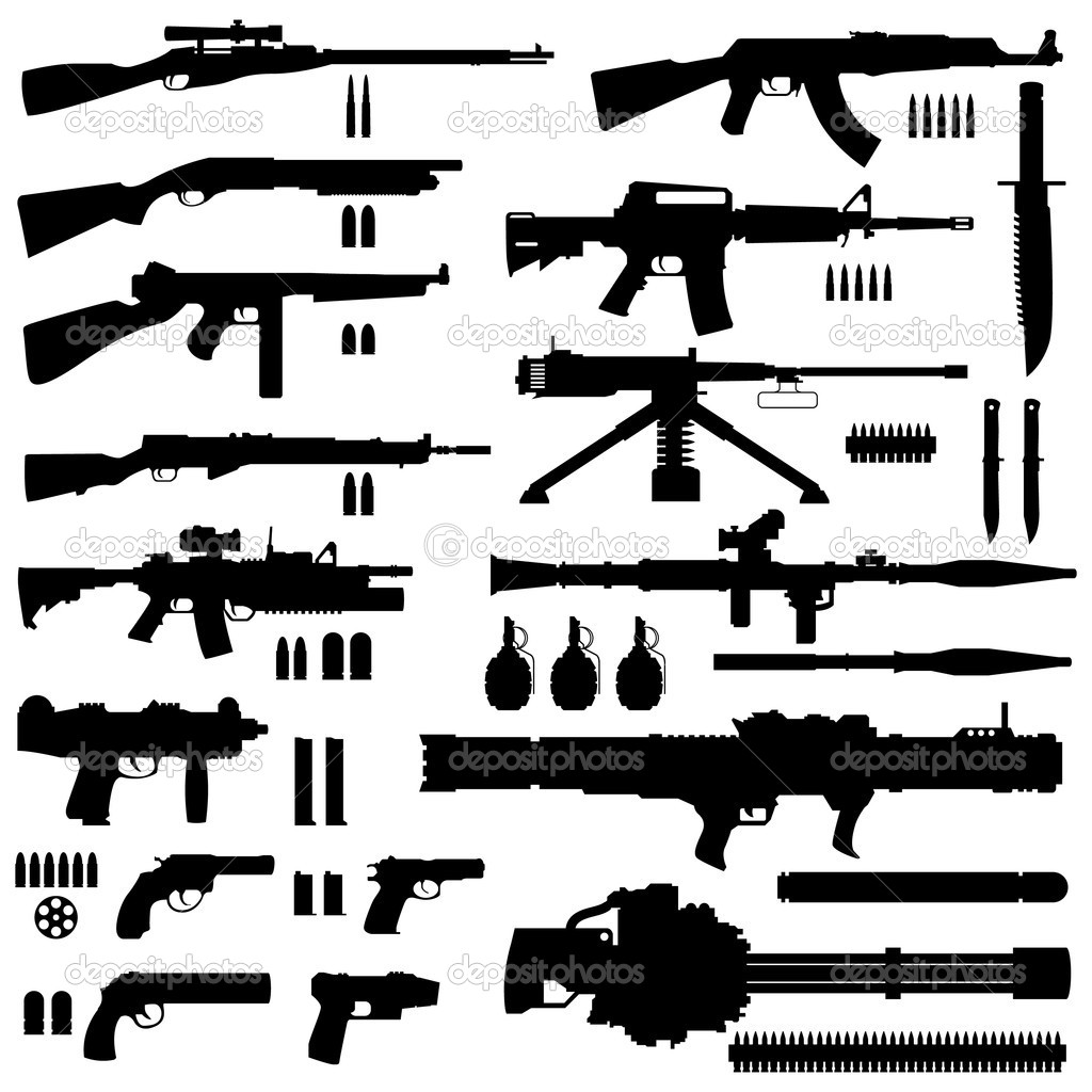 A collection of military arms weapons.  Stock Vector #4559755