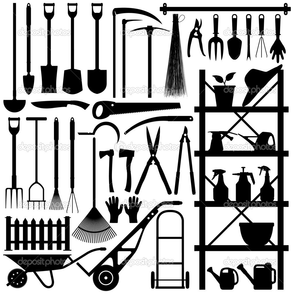 A large set of gardening tool and equipment in silhouette. — Stock Vector #4559759