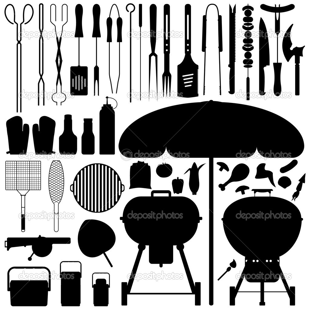 A large set of barbecue tools and food in silhouette. — Stock Vector #4559761