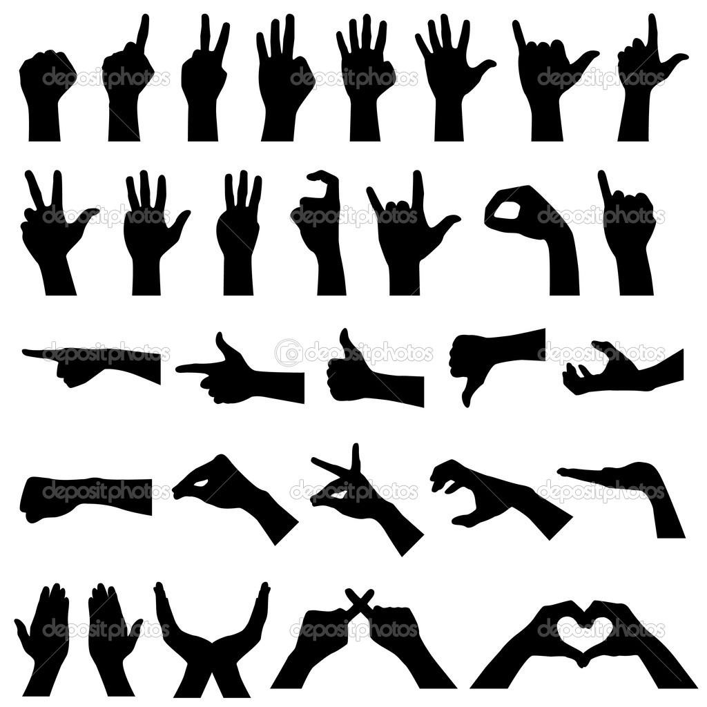 A set if hand sign gesture silhouettes. — Stock Vector #4559766