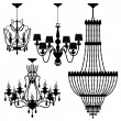 Chandelier Black Silhouette - Stock Vector