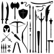 Stock Vector: Ancient Weapon Tool Equipment Set