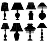 Nero luce di lampada tavolo — Vettoriale Stock