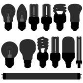 Lightbulb light bulb lamp set — Stock Vector