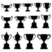 Trophy Cup Silhouette Black Set — Stockvector