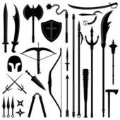 Arma antigua herramienta equipo conjunto — Vector de stock