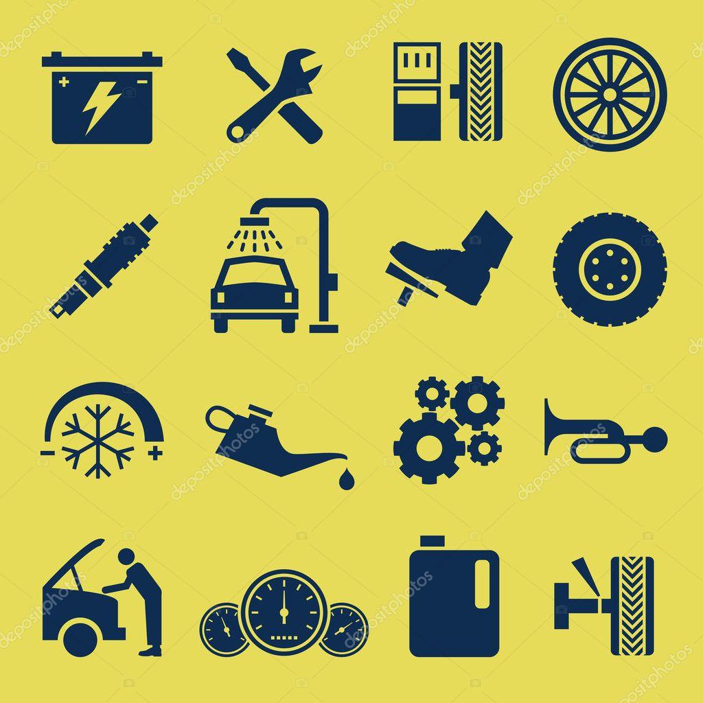 一套汽车维修和服务图标— 矢量图片作者 leremy