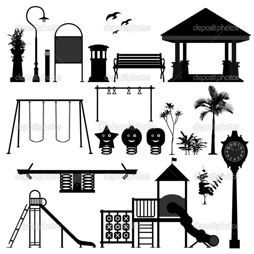 A set of playground equipment and stuff. — Image vectorielle #5028088
