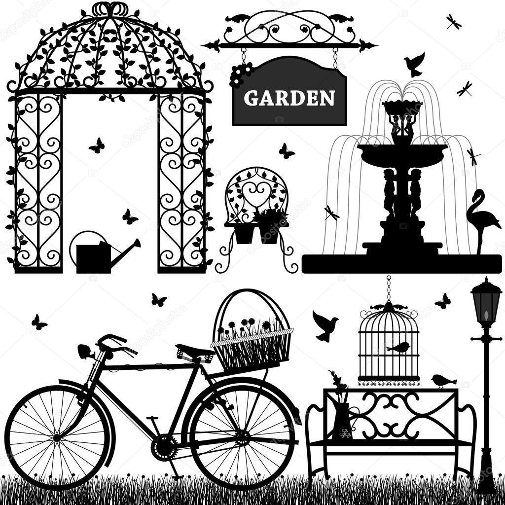 banco de jardim vetor : banco de jardim vetor:Garden Silhouette Vector