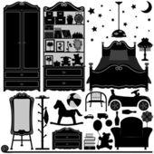 Children Bedroom Interior Design Home Room — Stock Vector