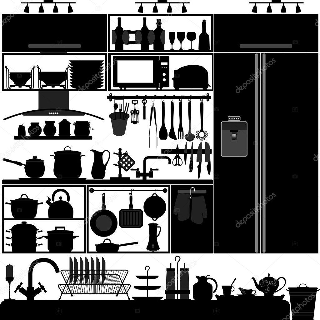 Kitchen utensil tool interior design equipment stock for Online interior decorating tool