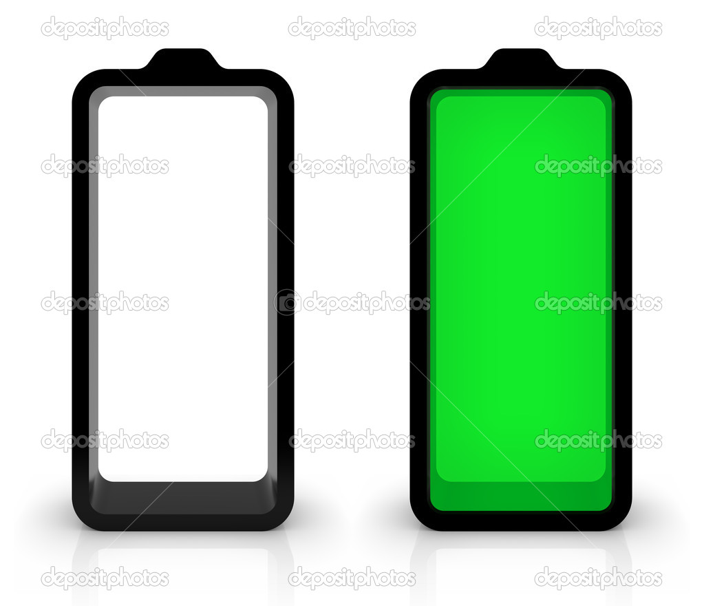 Battery charging or discharging symbols isolated on white. Part of a series. — Stock Photo #3951943