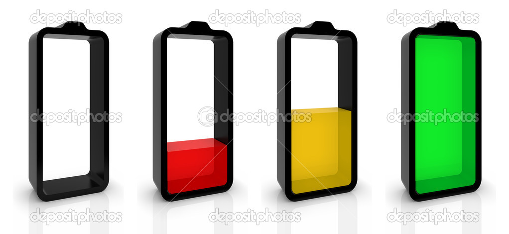 Battery charging or discharging symbols isolated on white. Part of a series. — Stock Photo #3955726