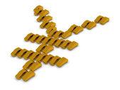 Golden Cars Yen Symbol — Stock Photo