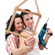 Couple with folding rule — Stock Photo