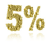 3D Illustration of five percent — Stock Photo