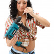 Repair woman with driller — Stock Photo #4256225