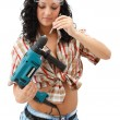 Repair woman with driller — Stock Photo