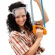 Sexy craftswoman with a saw — Stock Photo
