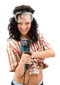 Girl with drilling machine — Stock Photo