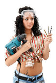 Indecisive repair woman — Stock Photo