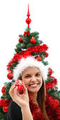 Woman at Christmas — Stock Photo