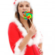 Sexy Santa with lollipop — Stock Photo